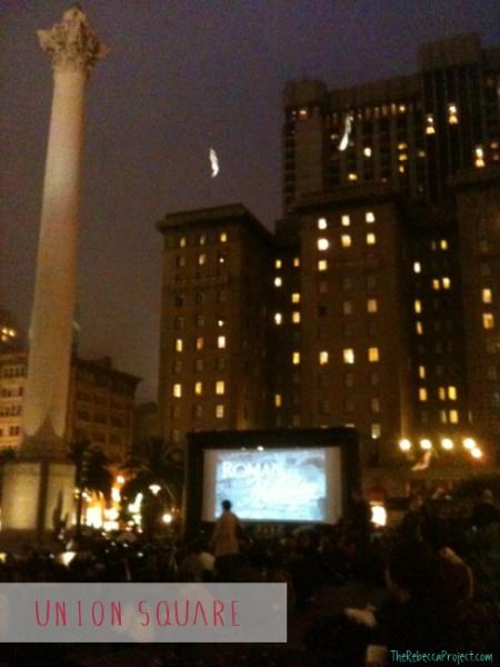 Movie nights in Union Square, SF.