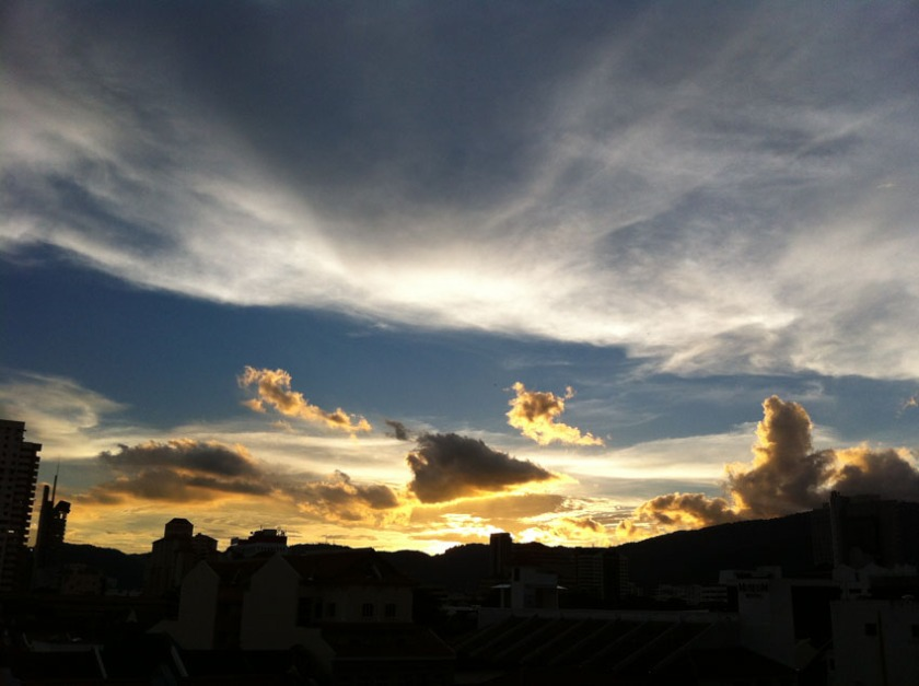Beautiful sunsets, as seen from our balcony.