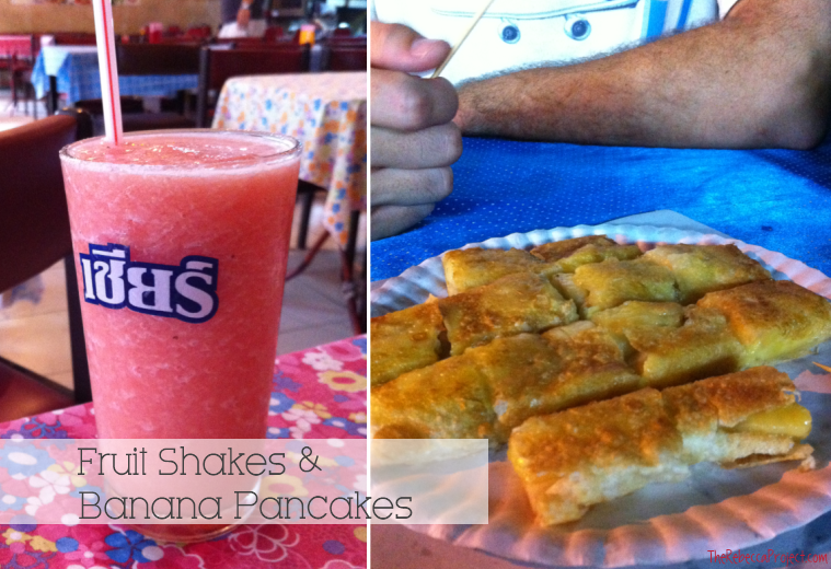 Fruit shakes and pancakes.