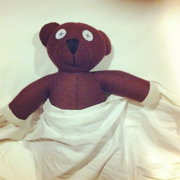 We don't buy trinkets when overseas as a rule. But we both fell in love with Teddy, so he's coming home with us.