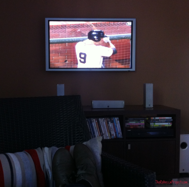 Feet up, baseball on.