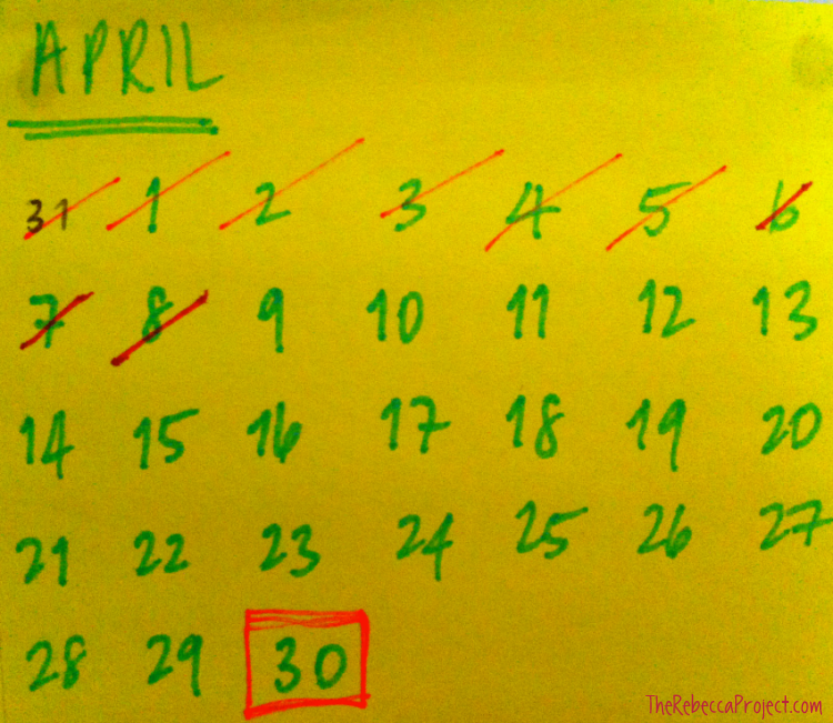 The handmade post-it calendar, blu-tacked to the wall.